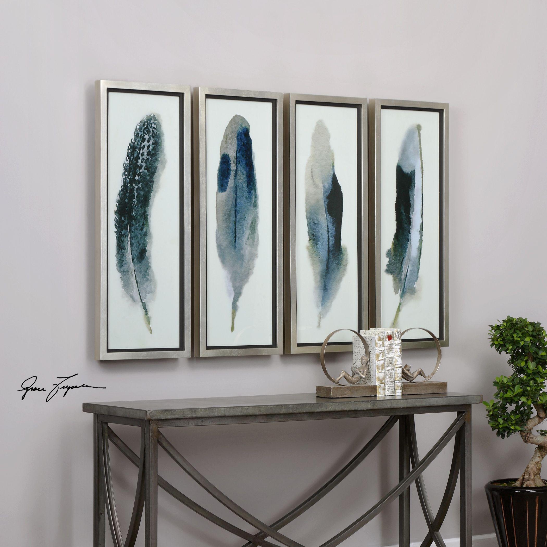 ... Four Piece Feathers Printed Framed Wall Art Set. U2039 U203a