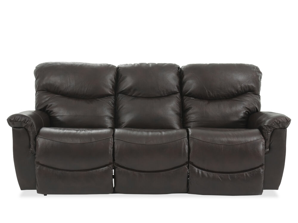 87 leather power reclining sofa in dark brown mathis brothers furniture. Black Bedroom Furniture Sets. Home Design Ideas