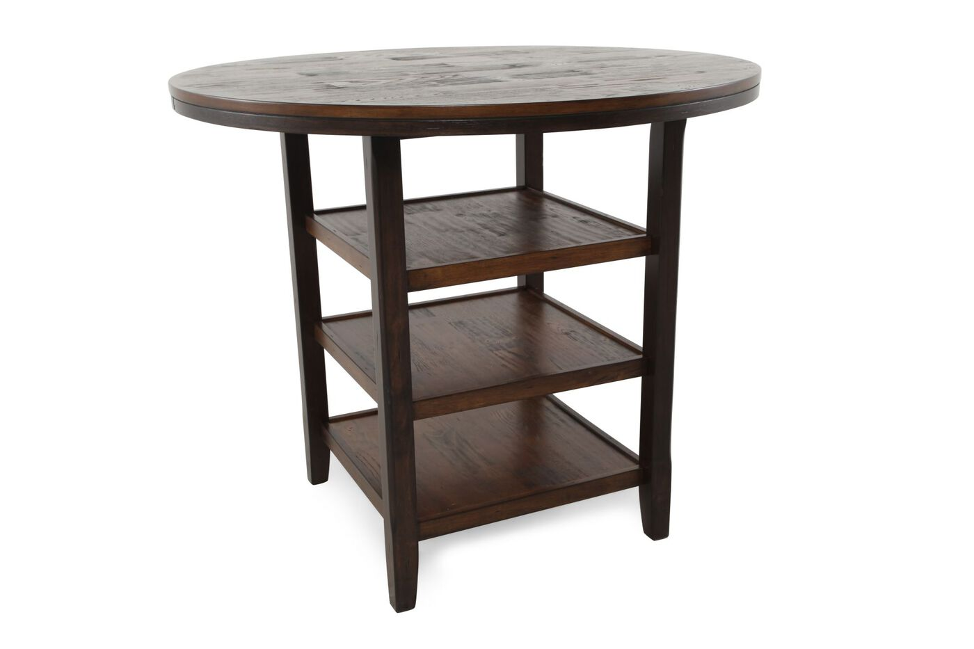 46 tri shelf counter table in dark brown mathis for Dining table shelf