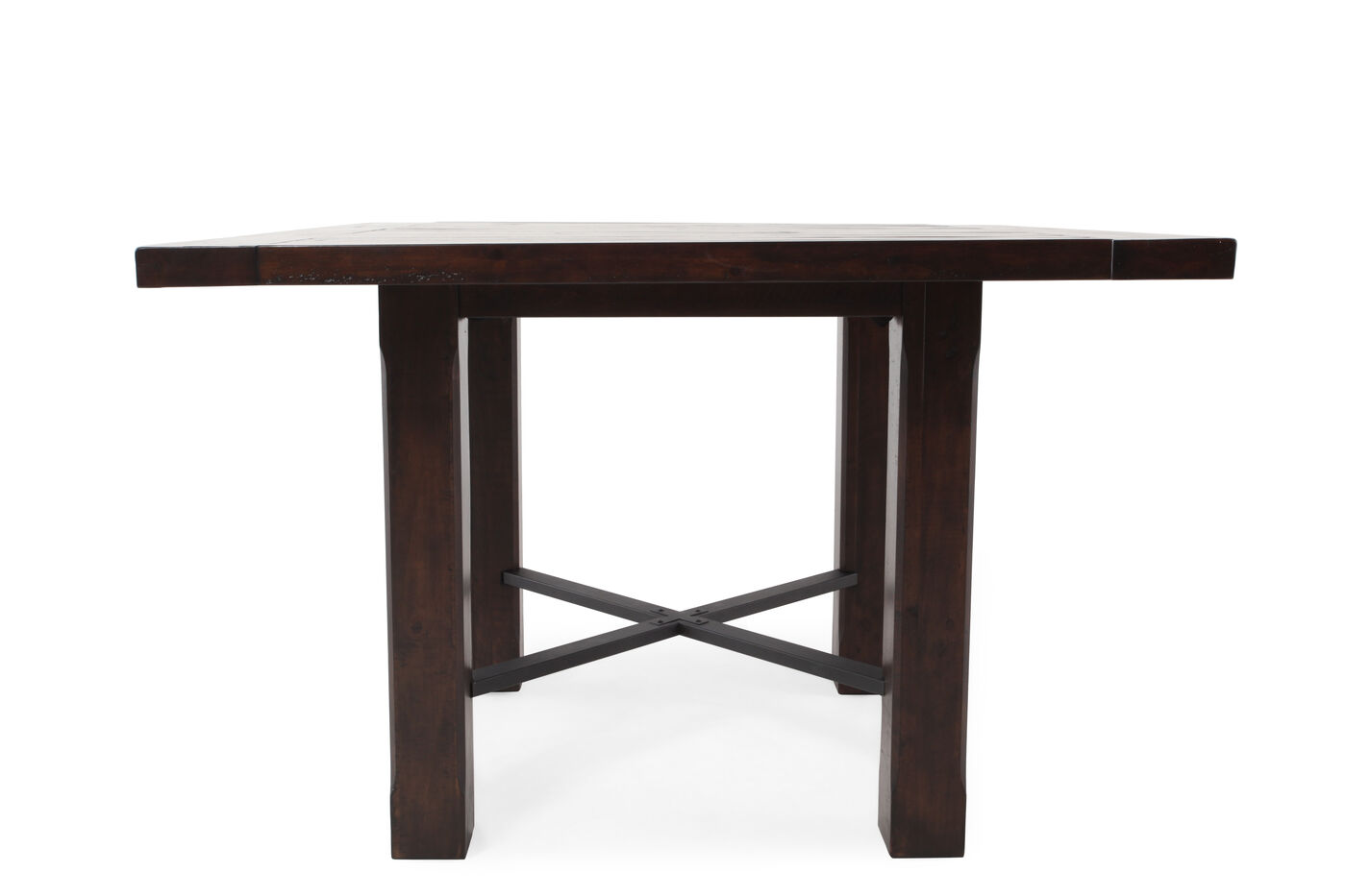 transitional 54 square counter table in rustic pine. Black Bedroom Furniture Sets. Home Design Ideas