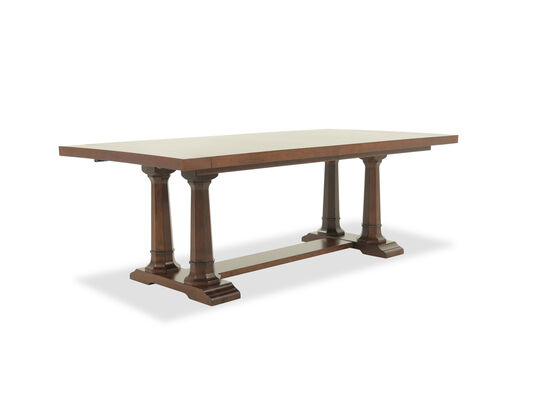 "Transitional 84"" to 018"" Trestle Dining Table in Brown"