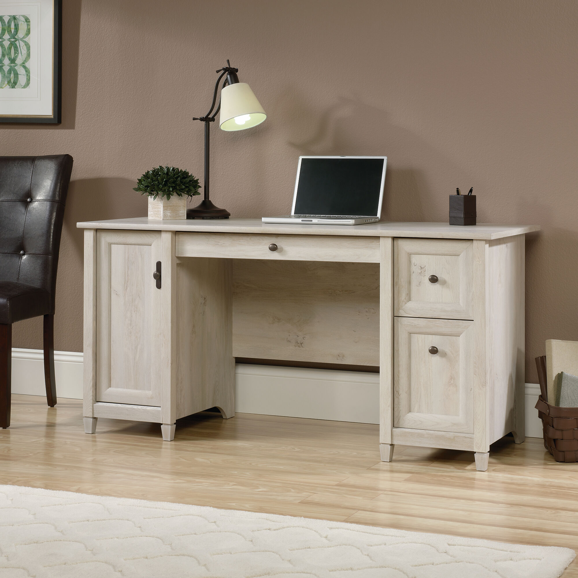 59 Two Drawer Solid Wood Computer Desk In Chalked Chestnut