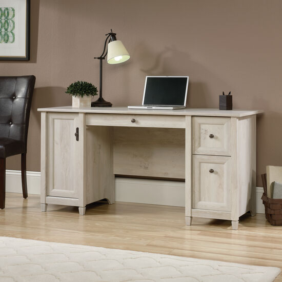 "59"" Two-Drawer Solid Wood Computer Desk in Chalked Chestnut"
