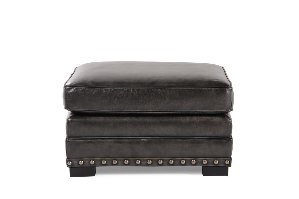 """Nailhead Accented Ranch House 29"""" Leather Ottoman in Gray"""