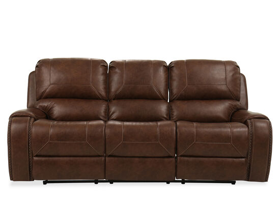 "Contemporary Nailhead-Accented 89"" Reclining Sofa in Brown"