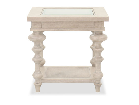 Casual End Table in Ivory