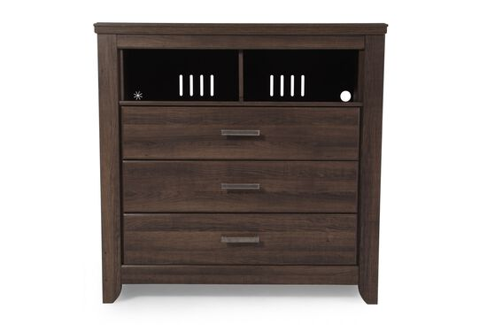 "44"" Casual Three-Drawer Media Chest in Dark Brown"