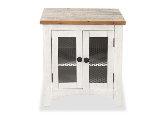 """24"""" Rectangular End Table in Vintage White with Storage Cabinet"""