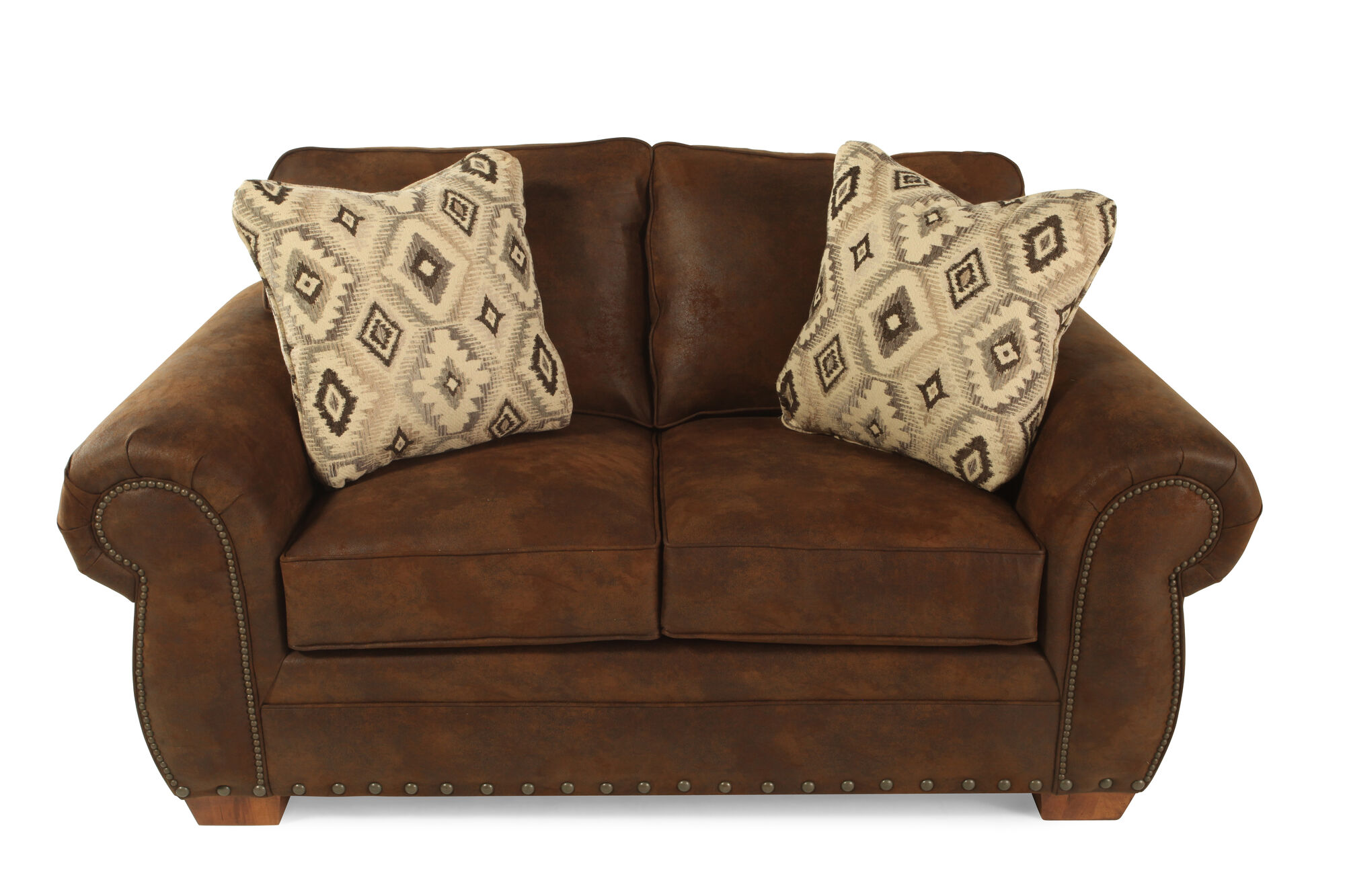 Nailhead Trimmed Microfiber 68 Loveseat In Dark Russet Brown