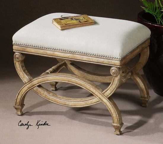 """Nailhead Trimmed 24"""" Accent Bench in Beige"""