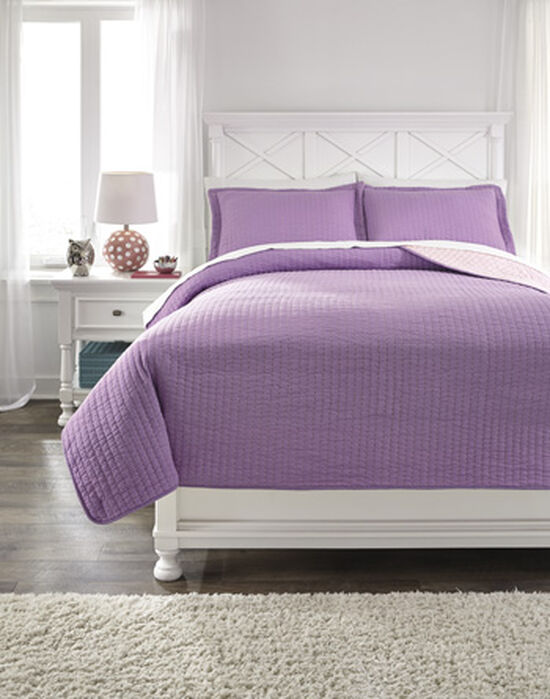 Three-Piece Striped Reversible Full Coverlet Set in Lavender/Pink