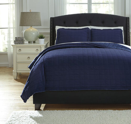 Three-Piece Square Quilted Queen Coverlet Set in Navy