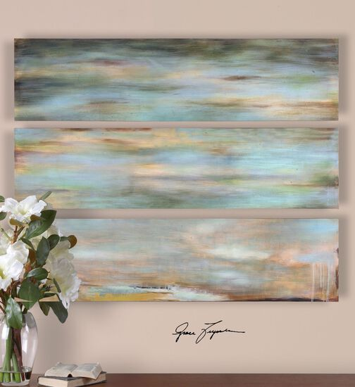 Three-Piece Hand Painted Abstract Wall Art Set