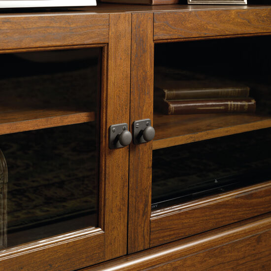 Divided Shelf Transitional Panel TV Stand in Cherry