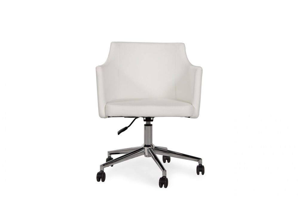 Leather Swivel Chair in Chrome
