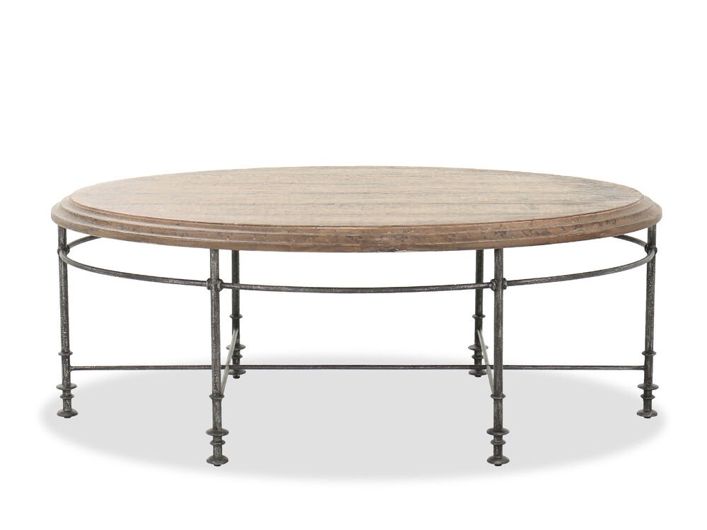 "52"" Oval Cocktail Table in Brown/Gunmetal"