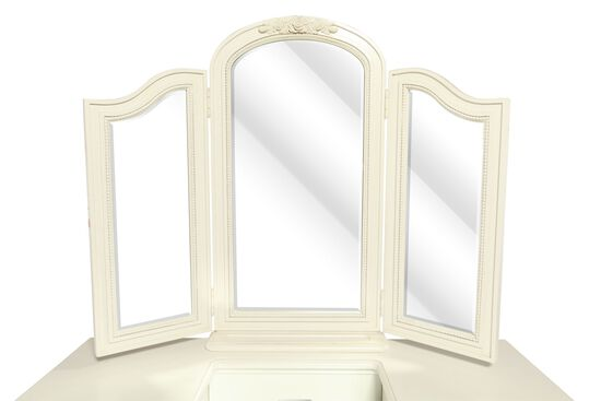 Tri-Fold Traditional Youth Dressing Mirror in Light White