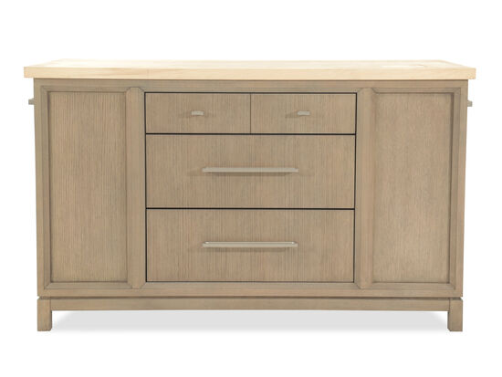 "Solid Rubberwood 60"" Kitchen Island in Light Brown"