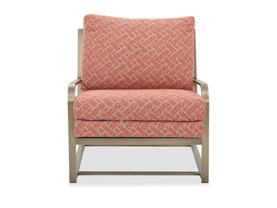 Contemporary Metal Accent Chair in Brass/Orange