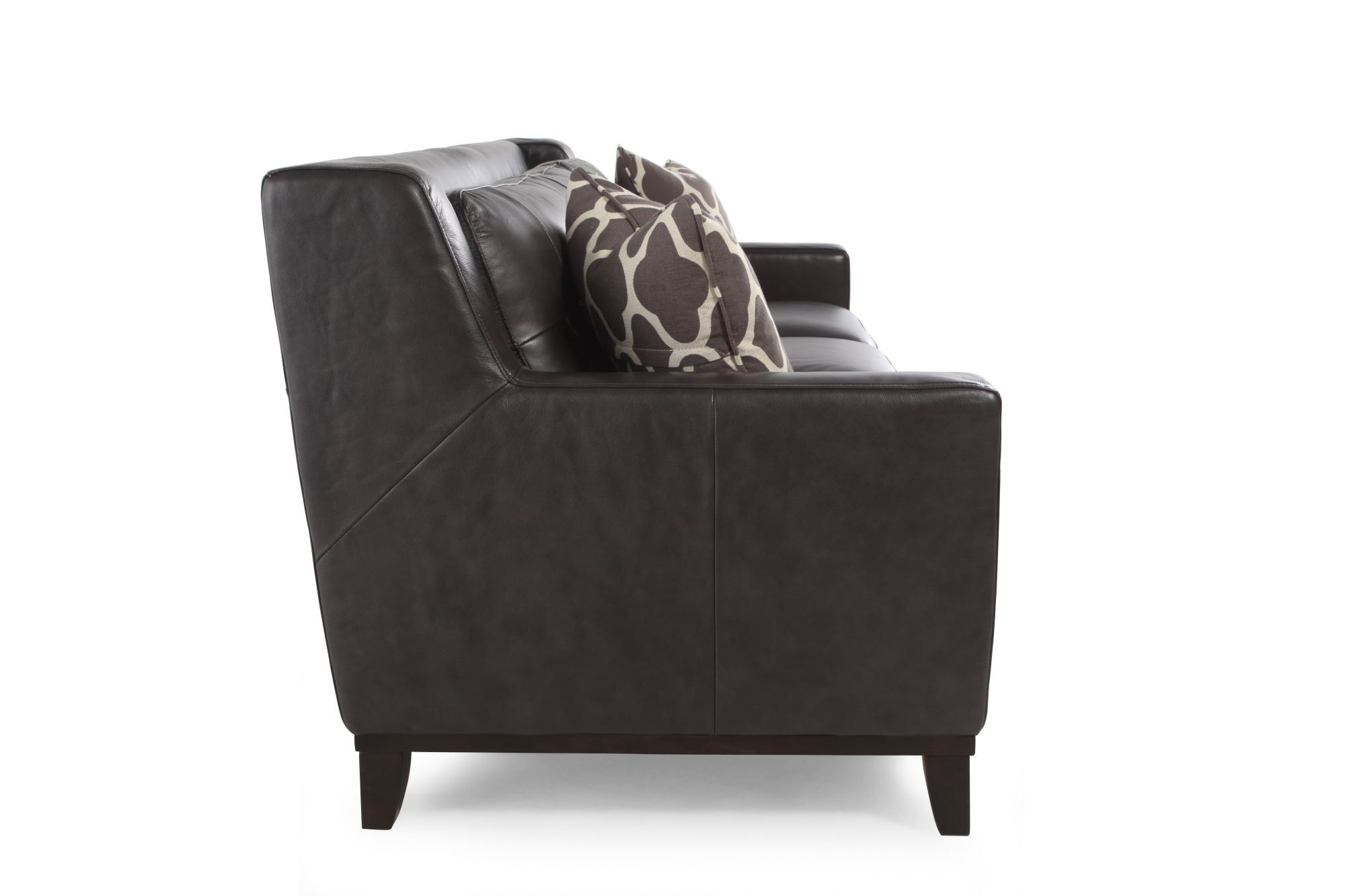 Button Tufted Leather 80 Sofa In Dark Gray Mathis Brothers Furniture