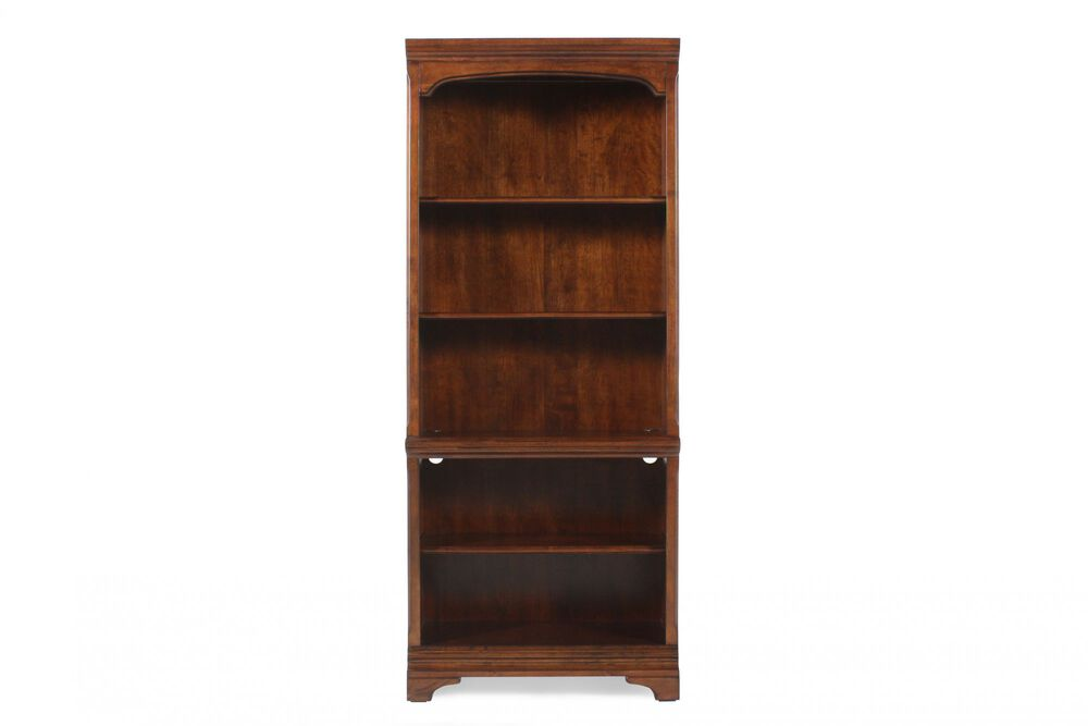 Traditional Adjustable Shelf Open Bookcase in Medium Brown