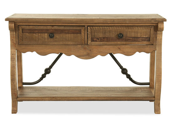 Traditional Rectangular Sofa Table in Brown