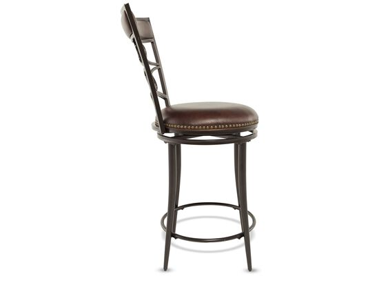 """Casual 42"""" Nailhead Accented Bar Stool in Brown"""