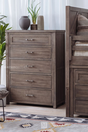 Transitional Five-Drawer Youth Chest in Brown