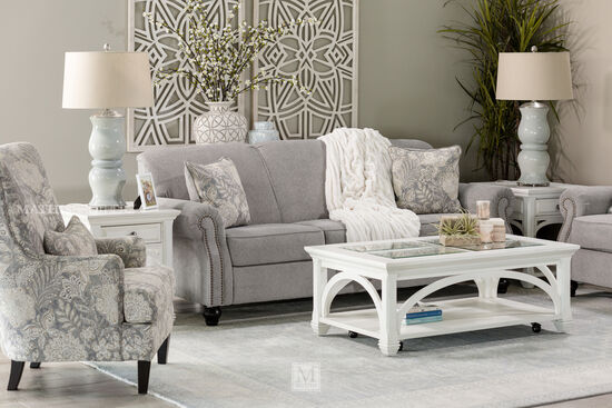 "Contemporary Nailhead-Accented 92"" Sofa in Gray"