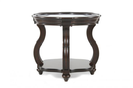Oval Distressed Contemporary End Tablein Deep Cherry