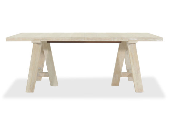 """Rustic Farmhouse 38"""" Trestle Dining Table in White Wash"""