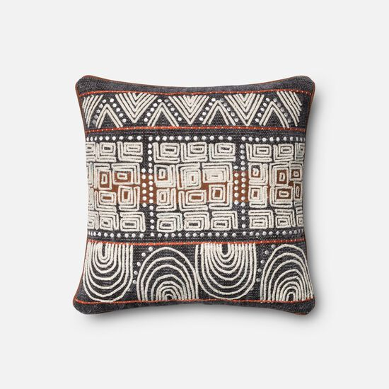 "18""x18"" Pillow Cover Only in Blue/Rust"