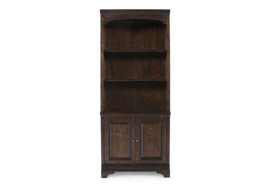 Two-Door Traditional Bookcase in Dark Brown