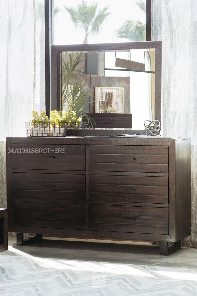 four piece mid century modern storage bedroom set in dark brown mathis brothers furniture. Black Bedroom Furniture Sets. Home Design Ideas
