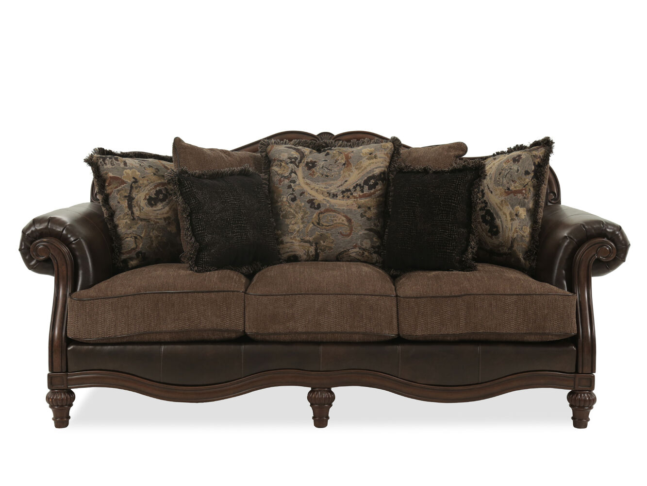Traditional 91 Quot Rolled Arm Sofa In Brown Mathis Brothers