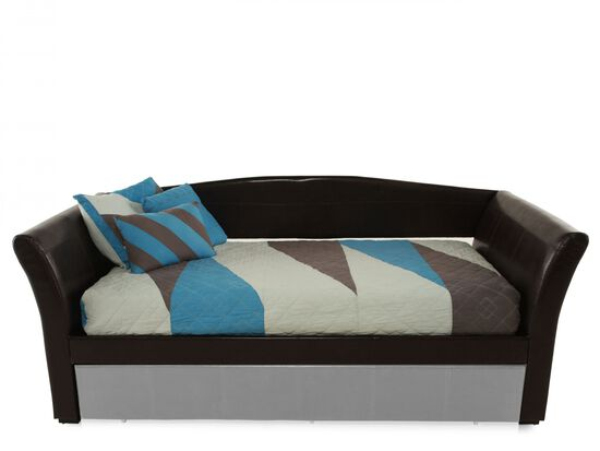 Curved Arm Contemporary Youth Daybed in Chocolate