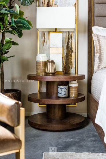 Modern Round End Table in Brown