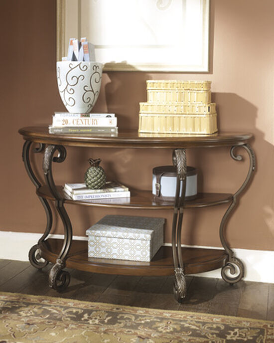 Scrolled Legs Traditional Sofa Table in Medium Brown