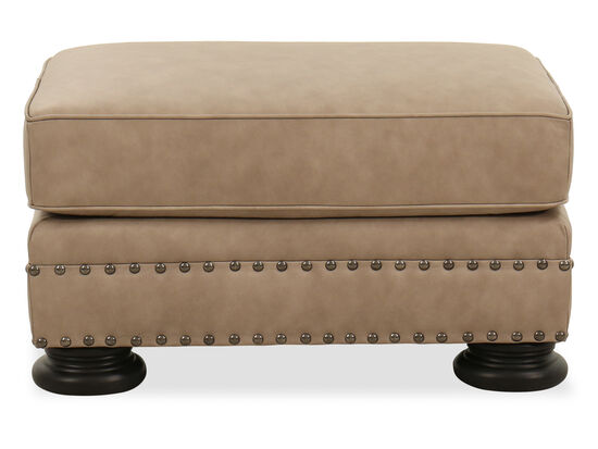 Nailhead-Accented Contemporary 32'' Ottoman in Tan