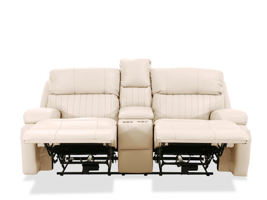 Channel Pleated Leather Power Reclining Loveseat In Ivory