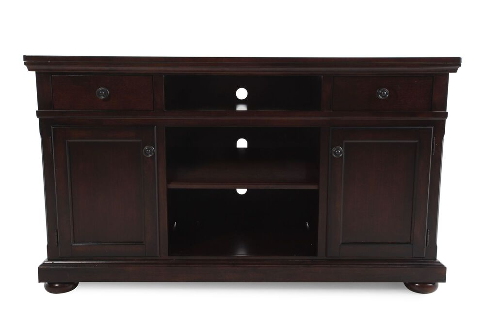 Three-Open Compartment Casual TV Stand in Cherry