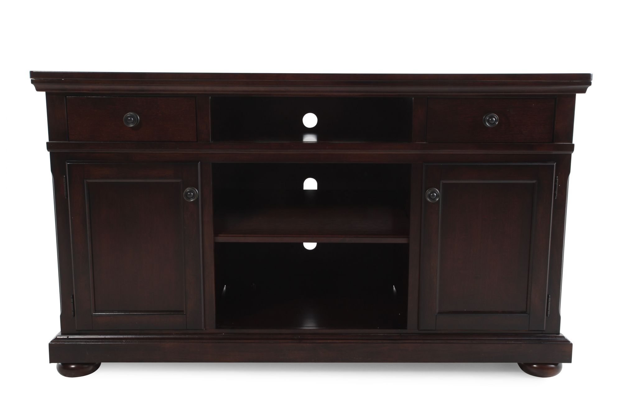 Three Open Compartment Casual TV Stand In Cherry