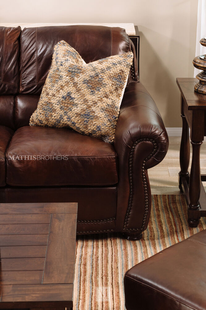 85 Quot Leather Sofa In Amaretto Mathis Brothers Furniture