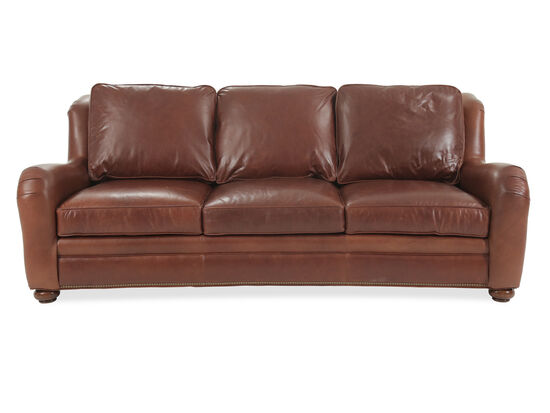 "Nailhead-Accented 93.5"" Leather Sofa in Casablanca"