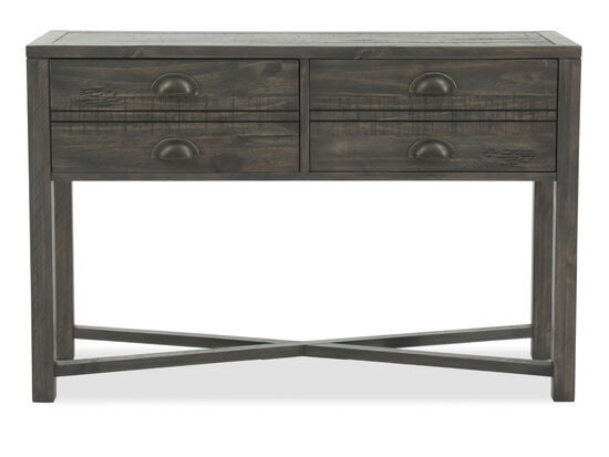 X-Stretcher Casual Sofa Table in Weathered Brown
