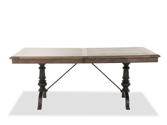 """Traditional Rectangular 76"""" to 96"""" Dining Table in Homestead Brown"""