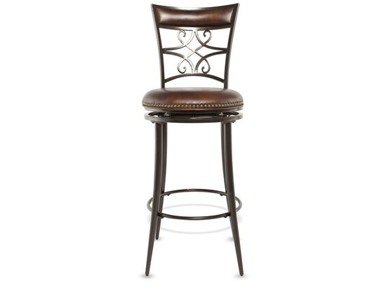"Casual 46"" Nailhead Accented Bar Stool in Brown"