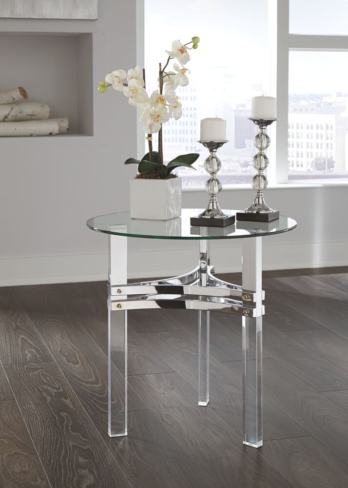Contemporary Round End Table In Chrome Mathis Brothers Furniture