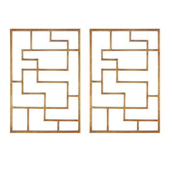 Two-Piece Geometric Maze Wall Art in Antiqued Gold Leaf