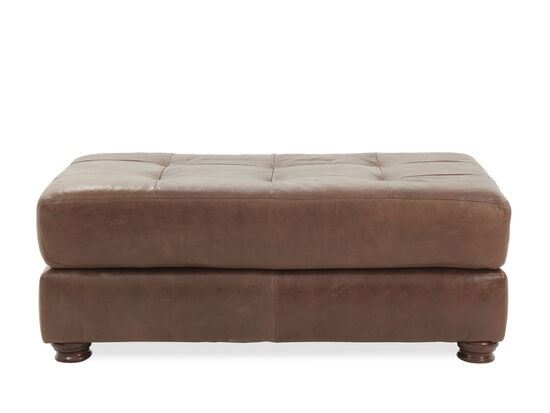 Casual Leather Ottoman in Brown